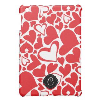Valentine day theme heart pattern with monogram iPad mini cover
