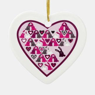 Valentine design, heart with rabbit patterns ceramic heart decoration