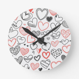 Valentine doodle hearts red and black hipster round clock