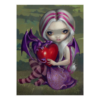 Valentine Dragon gothic fairy Art Print