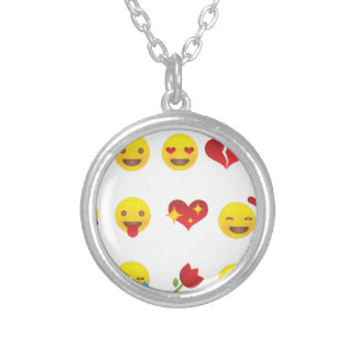 Valentine Emojis Silver Plated Necklace