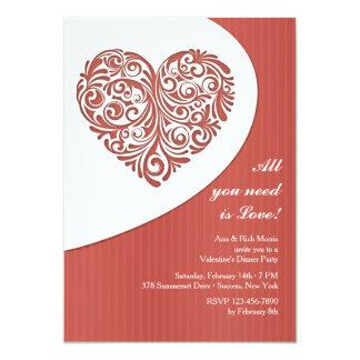 "Valentine Filigree Dinner Party Invitation 5"" X 7"" Invitation Card"