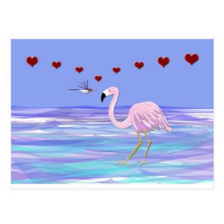 Valentine Flamingo Hummingbird Postcard