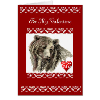 Valentine Friend Grizzly Bear Card