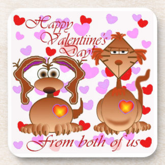 Valentine From both of us Beverage Coaster