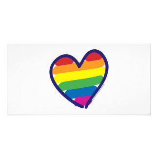 Valentine Gay Pride Rainbow Heart Photo Cards