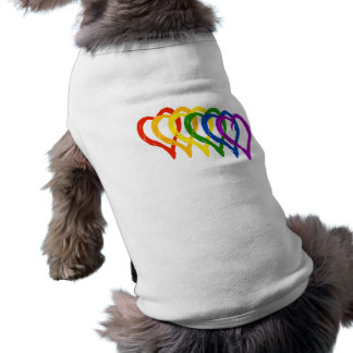 Valentine Gay Pride Rainbow Layered Hearts Sleeveless Dog Shirt