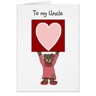 valentine girl bear holding card for her uncle