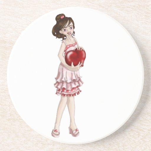 Valentine Girl Drink Coasters