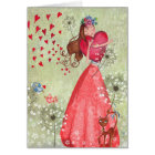 Valentine Girl Love Hearts | Greeting Card