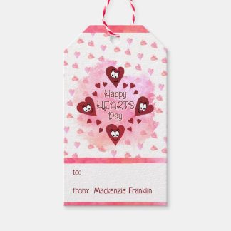 Valentine HAPPY HEARTS DAY, Watercolor Hearts Gift Tags