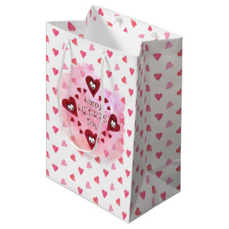 Valentine HAPPY HEARTS DAY | Watercolor Hearts Medium Gift Bag