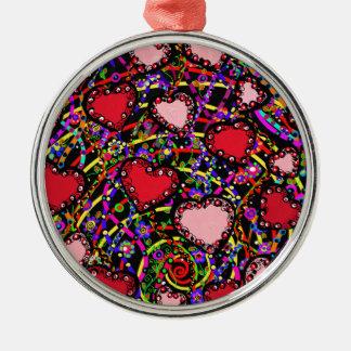 Valentine Heart Designs Metal Ornament