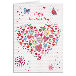 Valentine Heart Hearts Dots   Greeting Card