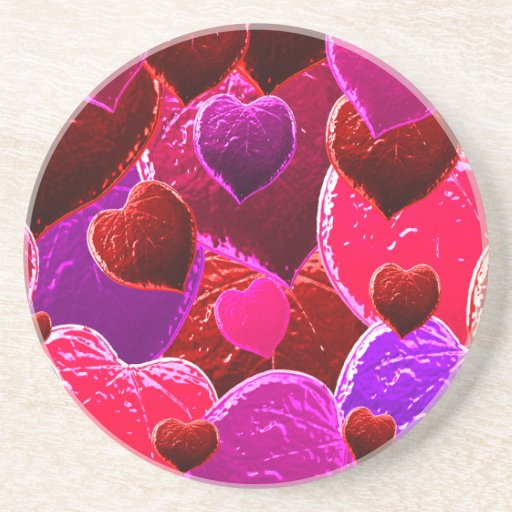 Valentine Heart Love Leaves Drink Coaster