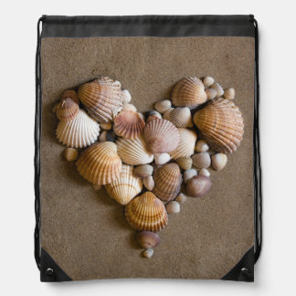 Valentine Heart Made with Shells Drawstring Bag