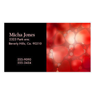Valentine Hearts Aglow Business Card Template