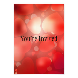 "Valentine Hearts Aglow 5"" X 7"" Invitation Card"