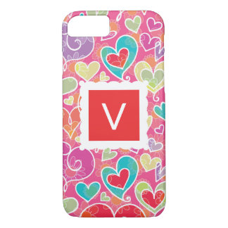 Valentine Hearts and Flowers Monogram iPhone 8/7 Case