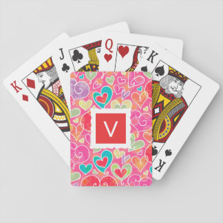 Valentine Hearts and Flowers Monogram Playing Cards