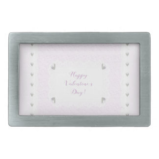 Valentine Hearts and Lace, Pastel Pink and White Rectangular Belt Buckle