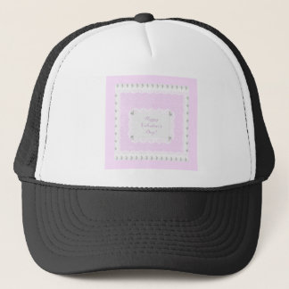 Valentine Hearts and Lace, Pastel Pink and White Trucker Hat
