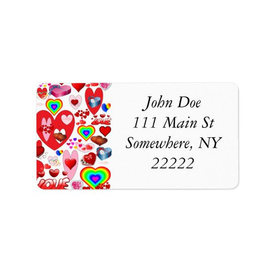 Valentine Hearts Collage Address Label