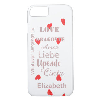 Valentine Hearts in any language to personalize iPhone 8/7 Case
