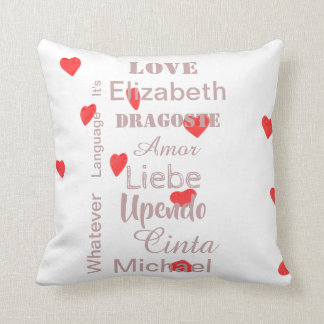 Valentine Hearts in pink and red Cushion