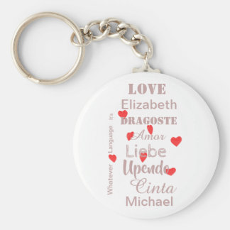 Valentine Hearts in pink and red Key Ring