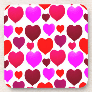 Valentine Hearts Pattern Beverage Coaster