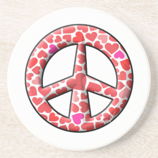 Valentine Hearts Peace Sign Beverage Coasters