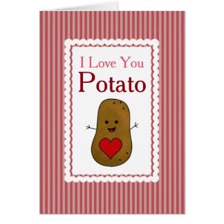 Valentine I Love You Potato, Pink Stripes Card