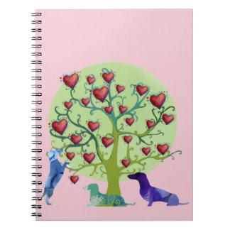 Valentine Illustration Notebook, DachshundHearts Spiral Notebook