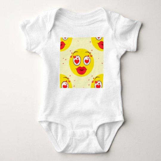 Valentine kiss Emoji Baby Bodysuit