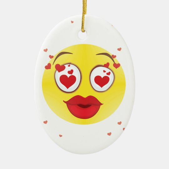 Valentine kiss Emoji Ceramic Ornament