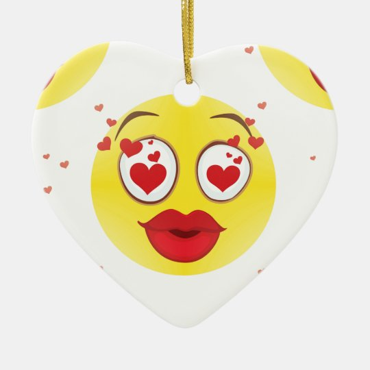 Valentine kiss Emoji Ceramic Ornament