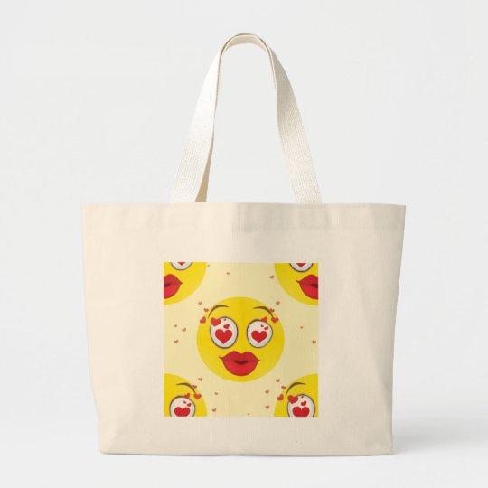 Valentine kiss Emoji Large Tote Bag