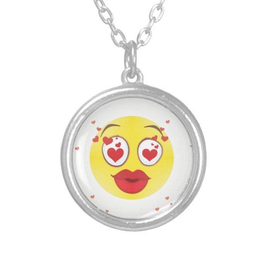 Valentine kiss Emoji Silver Plated Necklace