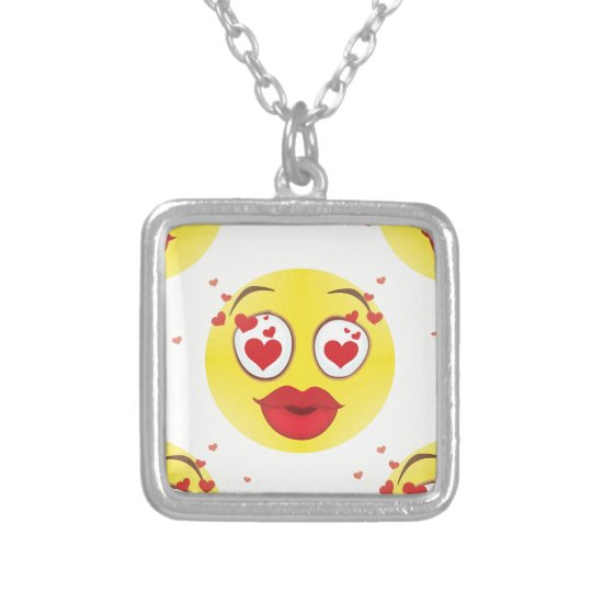 Valentine kiss Emoji Silver Plated Necklace