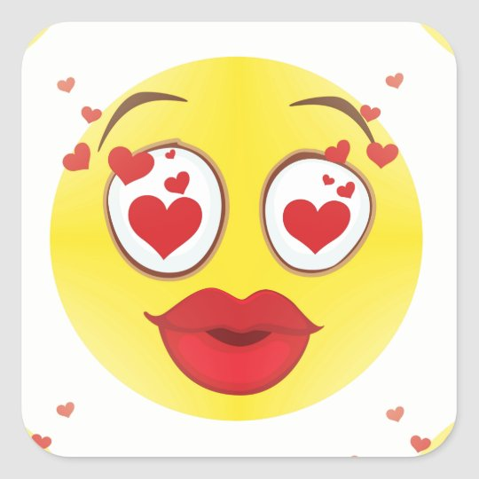 Valentine kiss Emoji Square Sticker