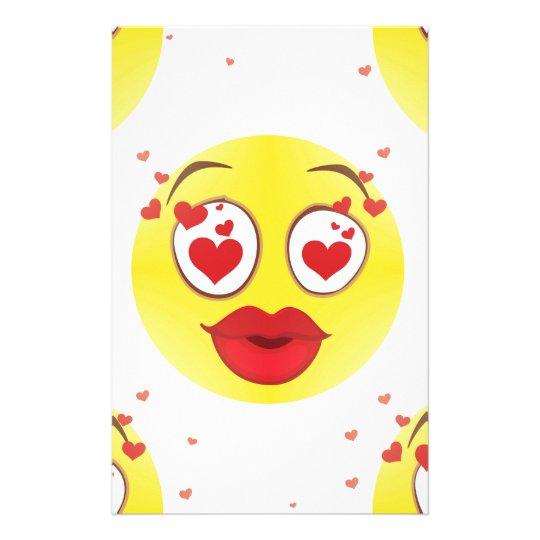 Valentine kiss Emoji Stationery
