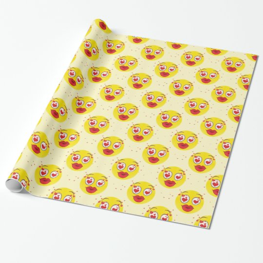 Valentine kiss Emoji Wrapping Paper