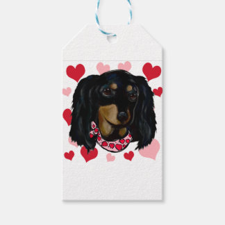 Valentine Long Haired Black Doxie Gift Tags
