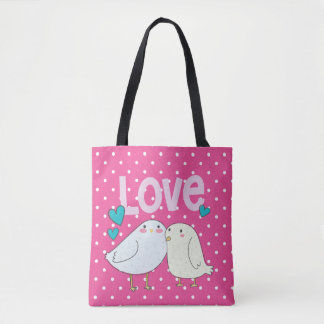 Valentine Love Birds Tote Bag