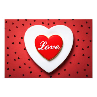 Valentine Love Cookie In Shape Of Heart Photo Print