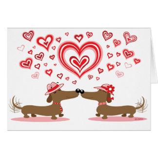 Valentine Love Dachshunds Card