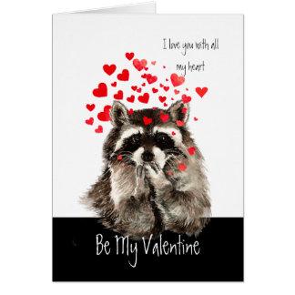 Valentine Love Fun Raccoon Blowing Kisses Card