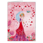 Valentine Love Music Gir | Greeting Card