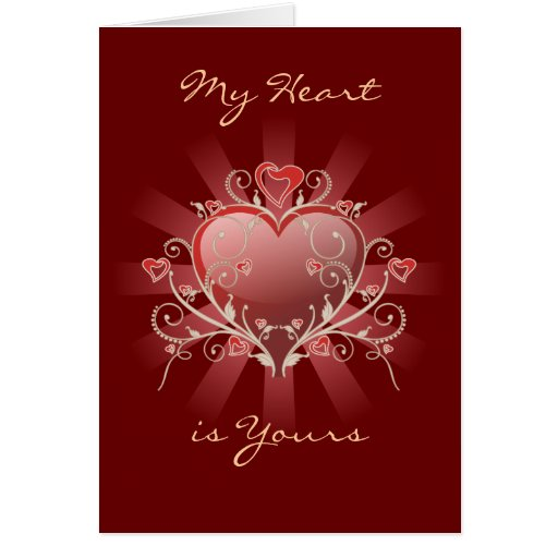 Valentine Love - Red Heart Gold Scroll Card